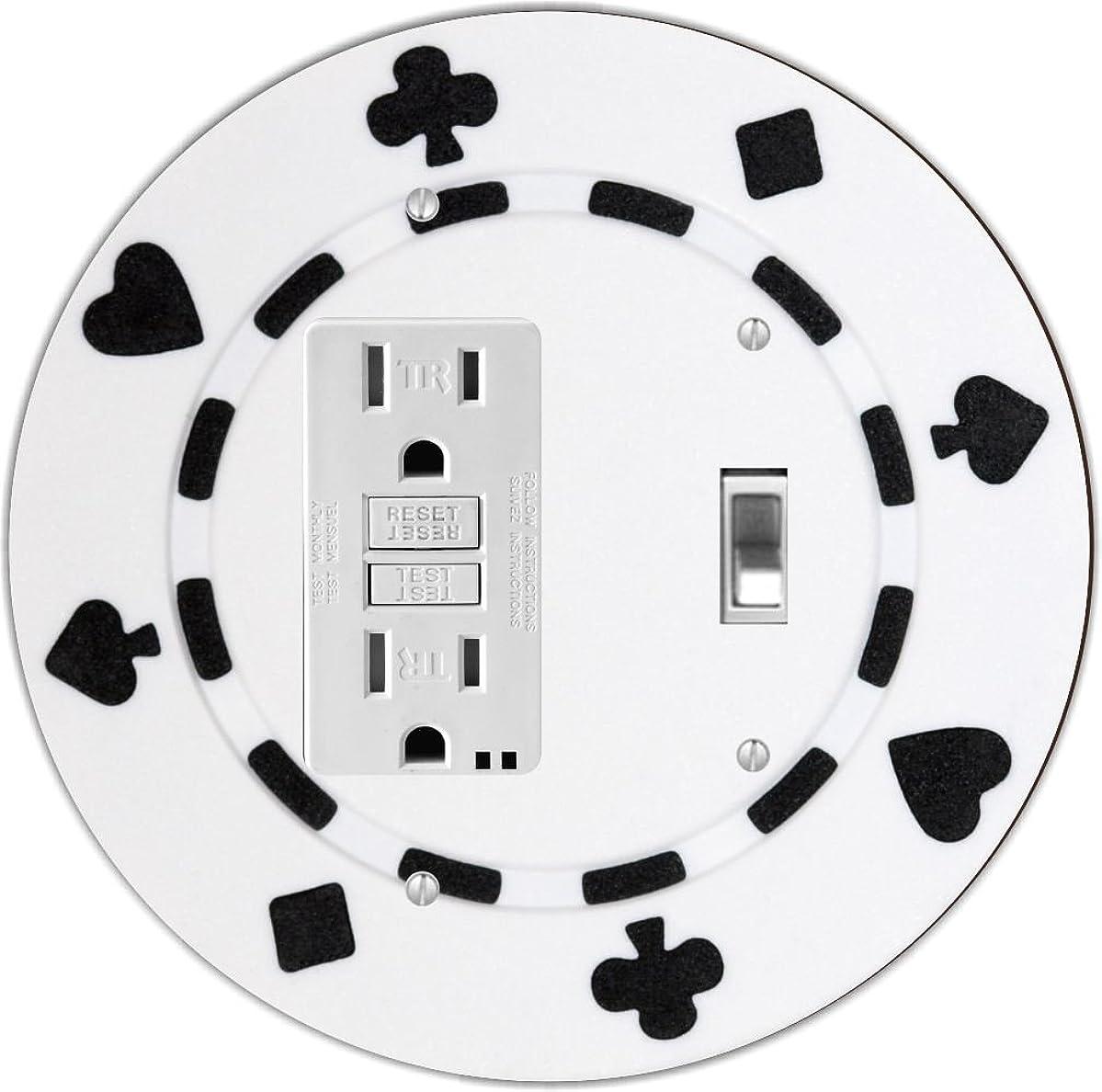 Rikki Knight RND-GFITOGGLE-84 Poker Chip Round GFI Toggle Light Switch Plate, White/Black