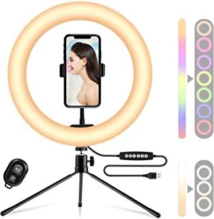 Kaigital RGB Ring Light 10 Inch LED Ringlight with Brightness Dimmable 10 RGB Colors with Desktop Tripod Stand and Cell Ph...