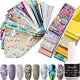 Duufin 100 Pezzi Adesivi Unghie Trasferimento Foil e Colla per Foil Nail Art Unghie Decalcomanie Nail Art Foil per Unghie Decorazioni