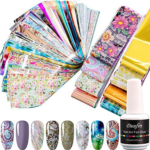 Duufin 100 Stück Nail Art Transferfolie Sticker mit 1 Gläse Nagelkleber, Transferfolie Nägel Kleber Nägelfolien Nailart Nail Wraps Transfer Aufkleber für DIY Nägel Dekoration
