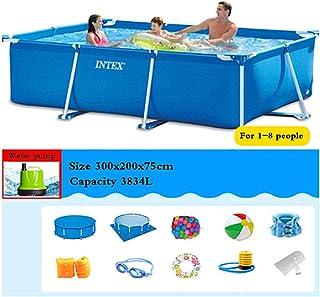 Phil Beauty Infantil Deluxe Splash Frame Pool Piscina Desmontable Tubular para Patio Jardín Playa Capacidad 7127L Buena Tenacidad Protector Solar Y A Prueba De Fugas,300x200x75cm