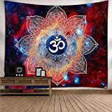 Tapiz De Pared, Vintage Psicodélico Mandala Indio Tapiz Colgante De Pared Rectangular Azul Y Naranja, Decoración De Arte Tejido Estampado De Salón Dormitorio