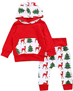 Baby Girls Boys Christmas Pants Set Pocket Hoodie + Pants