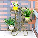 LQQGXL Iron hollow multi-storey indoor and outdoor European-style living room balcony plant stand Flower stand ( Color : Bronze )