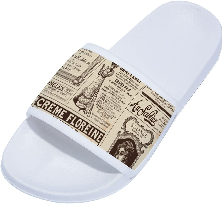Buteri Old Paper Vintege Newspaper Slippers Non-Slip Quick-Drying Slippers for Womens