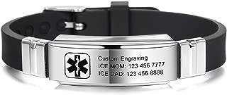 MOWOM Medical Bracelet Custom Engraved Silicone Adjustable Sport Name ID Identification Alert Medical Bracelet for Men Women Kids Stainless Steel Rubber- (Bundle with Emergency Card, Holder)