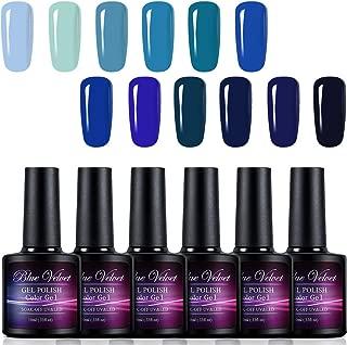 Gel Polish Set Blue Velvet 12pcs Soak Off UV LED Blue Color Gel Nail Coat Manicure and Pedicure Kit 10ML