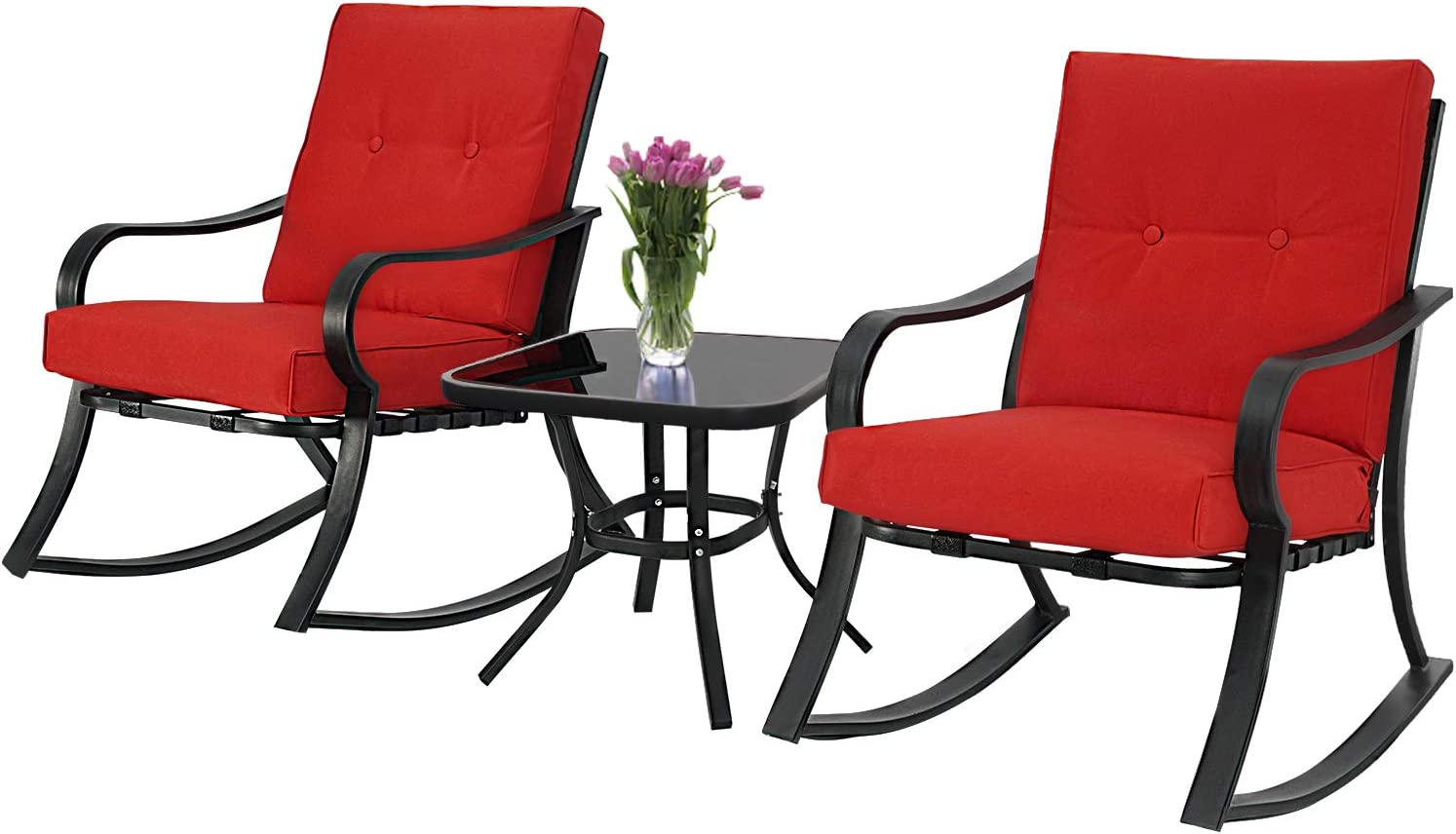 SUNCROWN Outdoor 3-Piece Rocking Chairs Bistro Set, Black Steel Patio Furniture with Red Thickened Cushion and Glass-Top Coffee Table