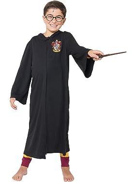 Harry Potter Big Boys' Harry Potter 'Hogwarts House Crest Magic Wizard Cloak' Costume Robe, Black, S
