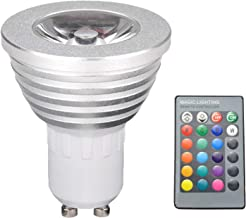 #N/A GU10 LED Light Bulb 3 Watt Color Changing RGB Dimmable LED Light Bulbs with Remote Control