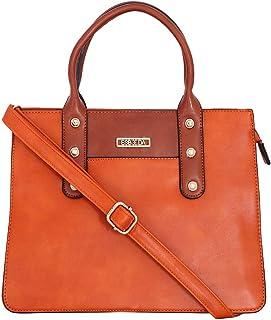 ESBEDA Orange Colour Antique Beaded Stone Handbag For Women