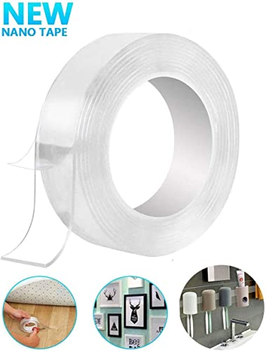 MELANA Hetvi Trend Double Sided Nano Reusable and Washable Universal Anti Slip Sticky Strips Nano Gel Adhesive Silicon Tape Roll Pads 3 m