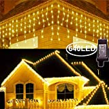Hezbjiti 8 Modes LED Icicle Lights,65.6 FT 640 LED 120 Drops Fairy String Lights Plug in Extendable...