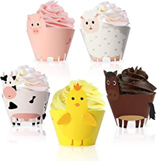 Farm Animal Cupcake Wrappers Toppers for Baby Shower Farmhouse Birthday Party Supplies Cake Decorations 25Pcs