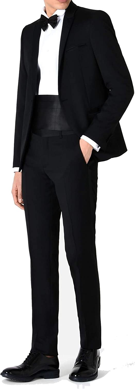 New Mens Black 2 Button Tuxedo - 5pc (Jacket, Pants, Shirt, Bow Tie, Cummerbund)
