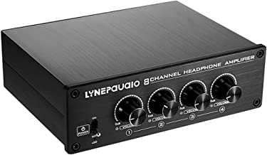 Yunyu-US Pro Eight-Channel Headphone Amplifier Headphone Distributer Signal Amplifier(Black) (Color : Black)