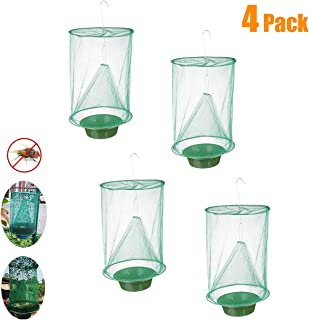 ESSEN 4 Pack Ranch Fly Trap, Outdoor Farm Fly Catcher, Food Bait Fly Catcher Cage for Killing Flies Used for Farm Garbage Stations etc.