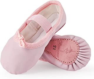 Zapatillas de Danza Cuero Zapatos de Ballet y Gimnasia Baile para Niña y Mujer