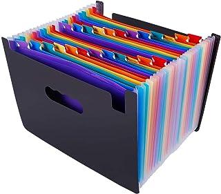 SKEIDO 24 Pockets Expanding File Folder Organiser A4 Filing Folders Business Home Office Document Accordion File Storage B...
