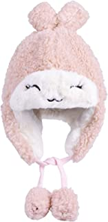 T.H.L.S Baby Girl Tolddler Winter Hat with Earflap Cozy Funny Warm Cap 2-7T Pink