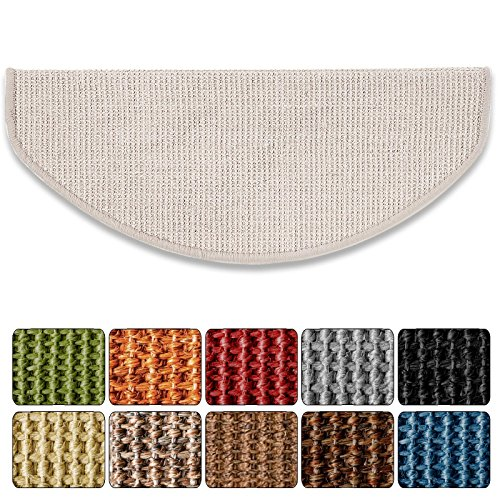 Sisal - Stufenmatte in 2 Größen,gewebt in, schöner Sisalstruktur, mit Treppenwinkel, rutschsicher für Mensch und Tier (ca. 18 x 56 cm, Elfenbein)