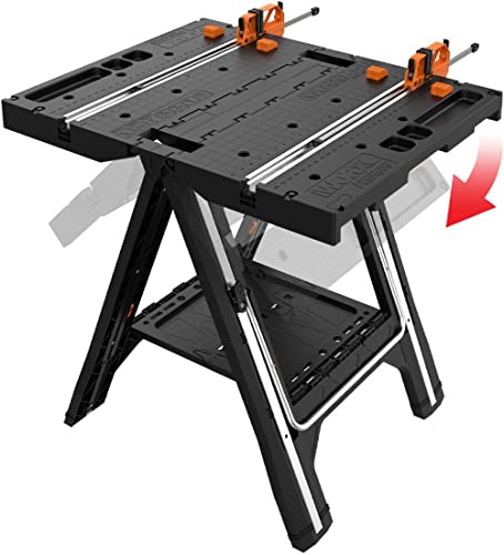 WORX WX051 Pegasus Multi-Function Work Table and Sawhorse with Quick Clamps and Pegs