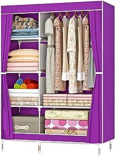 ZZBIQS Penderie en tissu avec compartiments et poches latérales, penderie en tissu avec tringles, rangement pour vêtement...