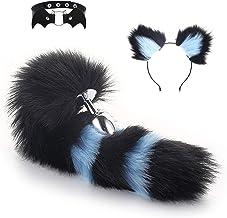 tyufgt6u 3 stuks Fox Tail Haarspelden en kragen met Plug Kunstmatige Paar Game Prop voor Vrouwen-Zwart en blauw-M