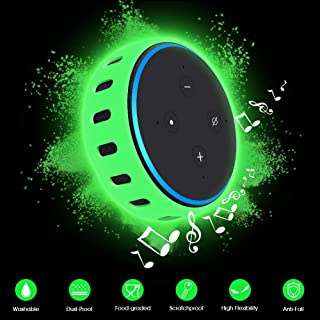 Case/Cover/Sleeve for Amazon Eco Dot 3rd Generation,Latest Silicone Protective Case Shock Proof [Anti-Lost][Ultra Light] Flexible Skin Holder for All-New Echo Dot (Glowgreen)