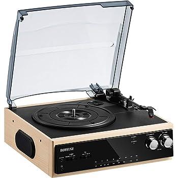 HOFEINZ スピーカー内蔵 レコードプレーヤー/Bluetooth出力/AM FMラジオ