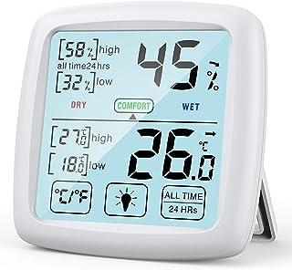NIXIUKOL Higrometro Digital Termometro Casa Interior Medidor Humedad Termohigrometro con Pantalla Táctil Grande, Indicador...