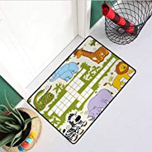 RelaxBear Word Search Puzzle Universal Door mat Colorful Crossword Game for Children Wild Jungle Safari Animals Grid Door mat Floor Decoration W23.6 x L35.4 Inch Multicolor