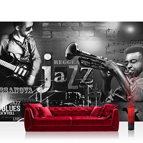 Fototapete 368x254 cm PREMIUM Wand Foto Tapete Wand Bild Papiertapete - Kunst Tapete Musik Jazz Reggae Blues Rock'n'Roll Gitarre Schlagzeug schwarz weiß - no. 2128
