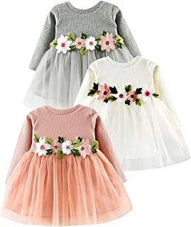 d0c20b6e788 Toddler Baby Girl Dresses Floral Tutu Skirt Knitted Tulle Long Sleeve  Princess Dress Outfits Clothes Set