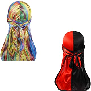 Two Tone Men Silky Durag Hip-hop Rapper Doo Rag,45 inch Long Tail,360 Waves Du rag Headwraps(2/3 Packed)