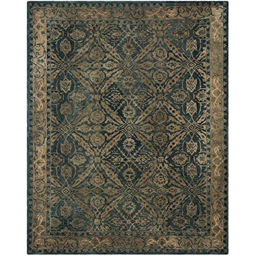 Safavieh Anatolia Collection AN583A Handmade Traditional Oriental Navy and Ivory Wool Area Rug (9' x 12')