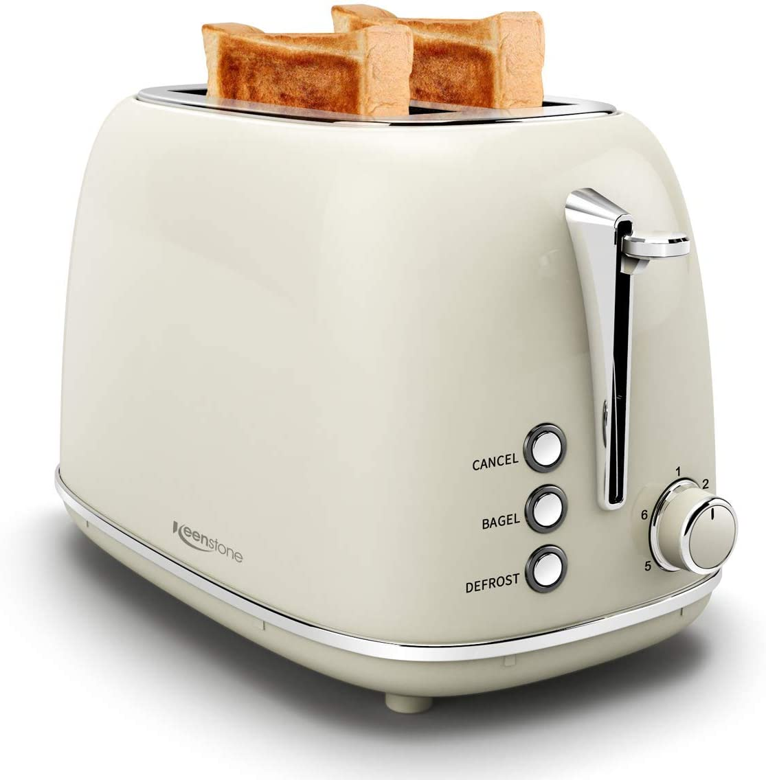 Toasters 2 Slice Retro Stainless Steel Toasters with Bagel, Cancel, Defrost Function and 6 Bread Shade Settings Bagel Toaster, Cream (Renewed)
