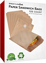 Paper Sandwich Bags Kraft Brown 125 Pack Includes White Round Stickers for Sealing - Unbleached Compostable Natural Kraft Paper Stock Bags for Bakery Cookies, Treats, Snacks, Sandwiches