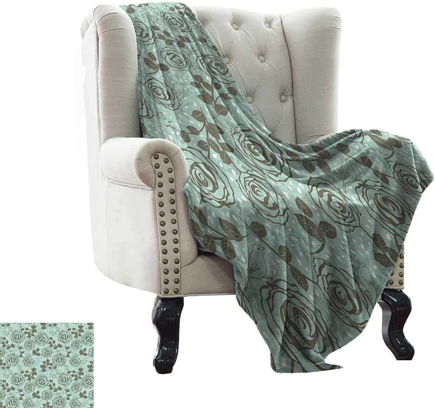 BelleAckerman Weighted Blanket for Kids Floral,Romantic Season Inspirations with pinks Birds on Tree Branches Summer Design,Seafoam Sage Green Flannel Blankets Made with Plush Microfiber 35 x60