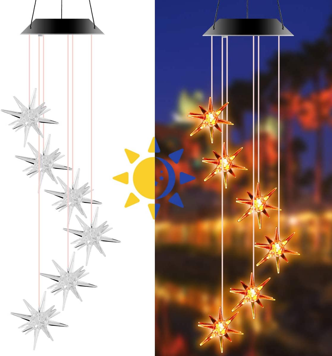 Solar Powered Wind Chime Sea Windchime Urchin LED Hanging At the price of surprise Shaped Choice