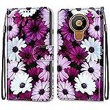 ShinyHülle für Nokia 5.3,Lederhülle Brieftasche Handyhülle ID Kartenfächer Magnetischer Etui Protective Anti-Scratch Schutz PU Leder Hülle für Nokia 5.3 -Lila Gänseblümchen