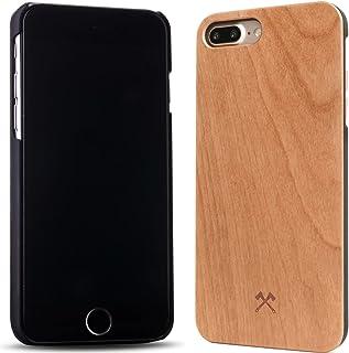 Woodcessories – Carcasa, Funda compatible con iPhone  7 Plus / 8 Plus, de madera real, EcoCase Classic (Cerezo / Negro)