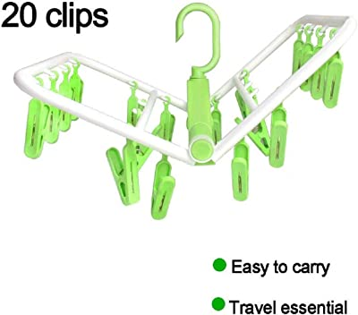 HOME CUBE 360 Degree, 20 Clip Plastic Portable Folding Clothes Drying Rack Space Saving Travel Rotatable Clips (Standard Size, Random Colour)