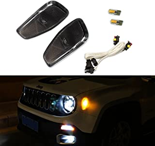 Smoked Lens Amber LED Lights By GTinthebox Side Marker Turn Signal Lamps Update Kit For Jeep Renegade 2014 2015 2016 2017 2018 2019, 2 Pcs
