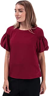 French Connection Womens Crepe Light Puff Sleeve Top in Baked Cherry.