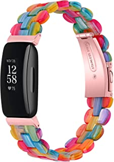 KangPlus Bracelets de rechange pour Fitbit Inspire/Inspire HR - En résine - Avec boucle en acier inoxydable - Réglable de ...