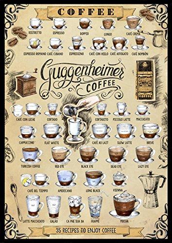 Kaffee Poster - 35 Kaffee Rezepte - 35 Recipes to Enjoy Coffee - Bild Kunstdruck 50 x 70 cm - Café Bar Pub Einrichtung
