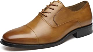 La Milano Mens Leather Cap Toe Lace up Oxford Classic Modern Business Dress Shoes for Men brown Size: 9 UK