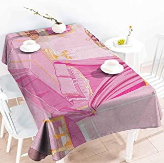 Spill-Proof Table Cover,Princess Interior of Magic Princess Bedroom Old Fashioned Ornament Pillow Mirror Print,Table Cover for Dining,W60X102L Pink Yellow
