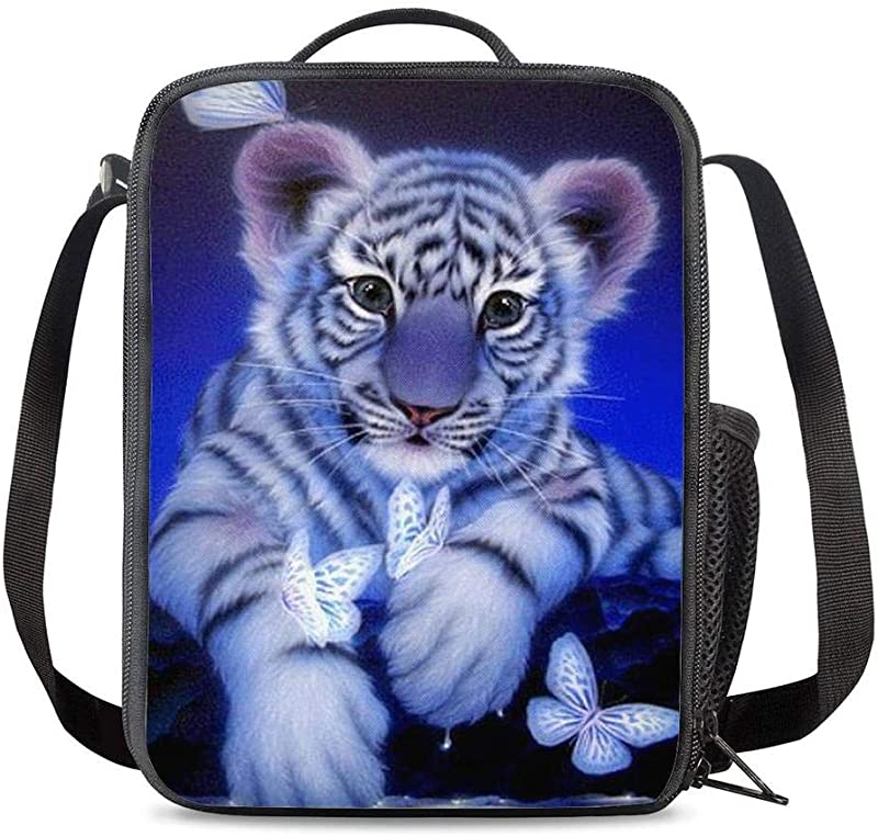 KiuLoam Cute White Tiger Butterfly Kids Small Lunch Box Children S Insulated Lunch Bag With Zipper Shoulder Strap Cooler Lunch Tote For Boys Girl Preschool Office Picnic